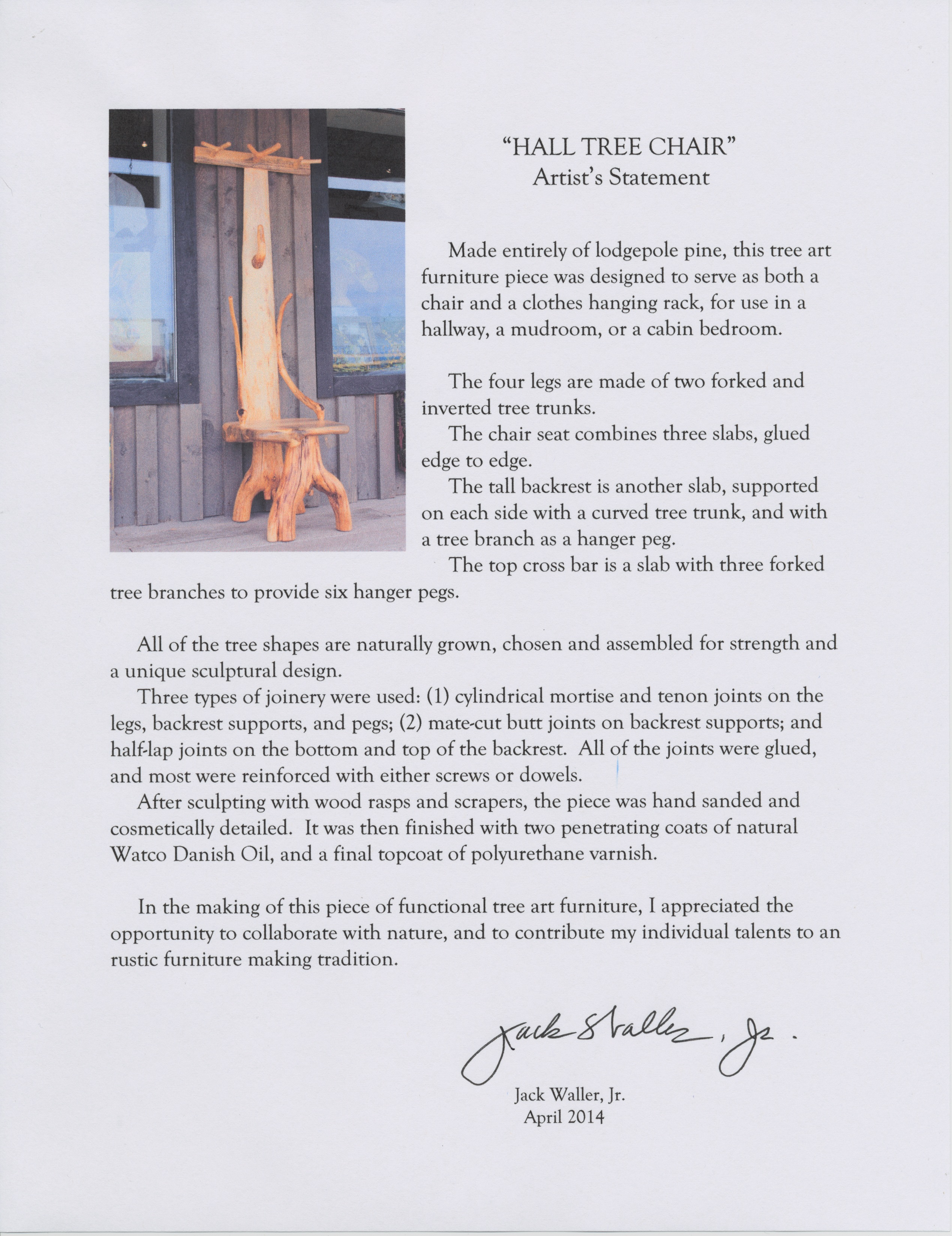 Forty. Hall Tree Chairu2013Artistu0027s Statement