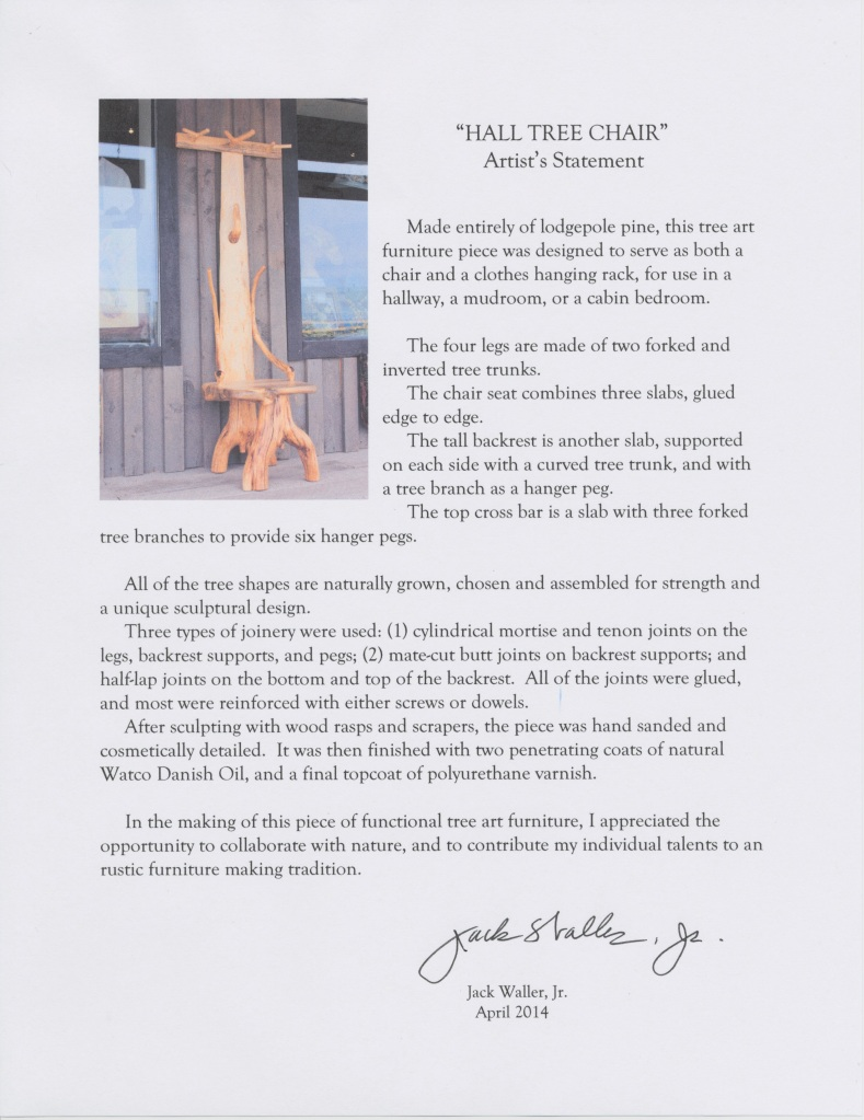 HALL TREE CHAIR--Artist's Statement--April 17, 2014